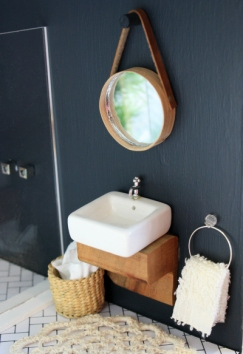 Timber bench seat became a vanity